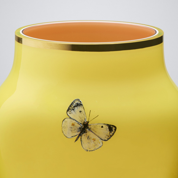 Goldberg Butterfly Collection, Vase, painted glass