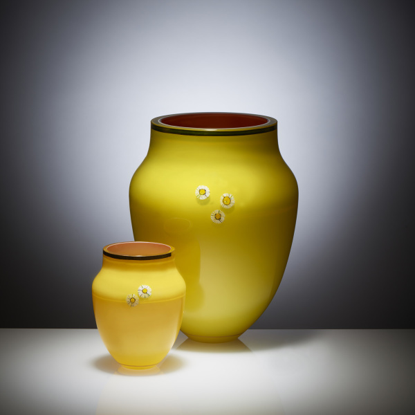 Daisy Collection Large and small Vase, hand painted and gilded overlay glass