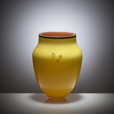 Daisy Collection Vase, hand painted and gilded overlay glass