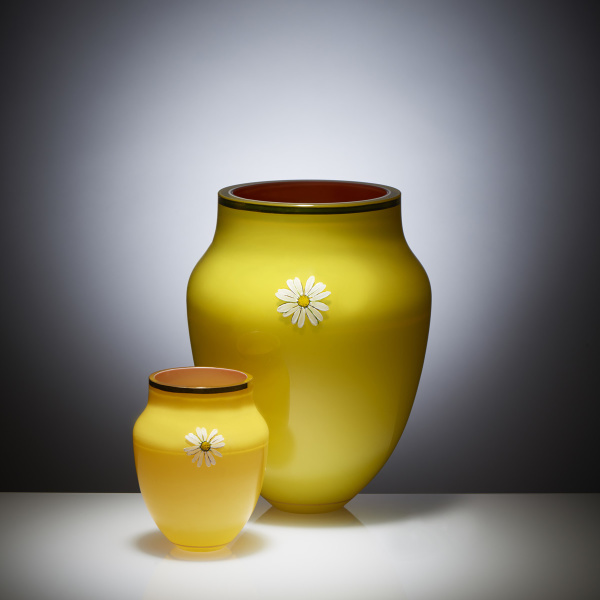 Oxeye Daisy Collection Vase and small vase, hand painted and gilded overlay glass