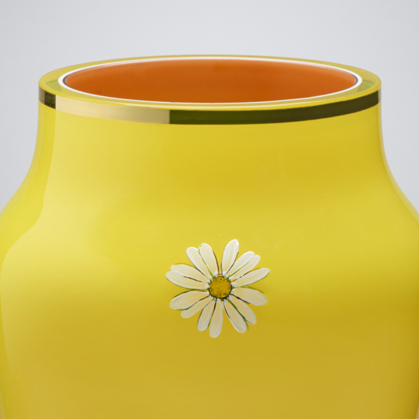 Oxeye Daisy Collection Vase, hand painted and gilded overlay glass