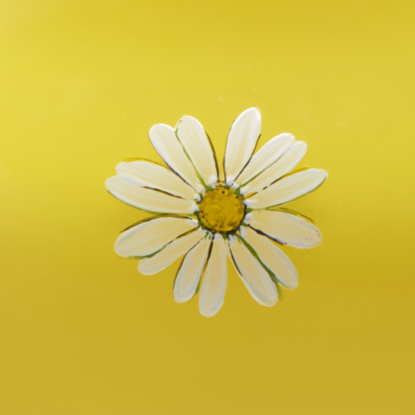 Oxeye Daisy Collection Vase, small vase and bowl hand painted and gilded overlay glass