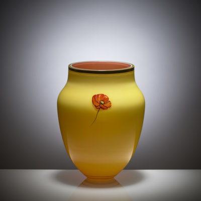 Red Weed Collection Vase, painted and gilded overlay glass