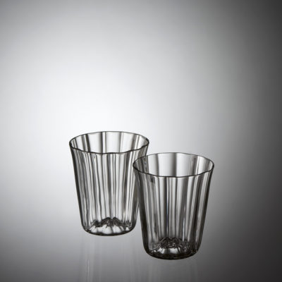 Goldberg Sherry Glass Baroque Garden Collection, grey crystal, hotshaped, blown