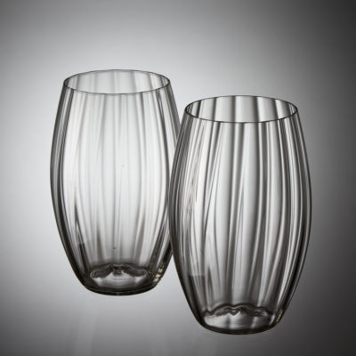 Goldberg Tumbler Long Old Garden Collection, grey crystal, hotshaped, blown