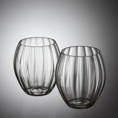 Goldberg Tumbler Old Garden Collection, grey crystal, hotshaped, blown